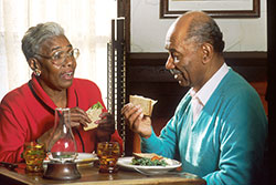Older couple eating
